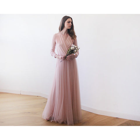 Blush maxi tulle gown with long sleeves , Pink blush bridesmaids maxi gown - Stylemindchic Boutique - Curated Collections - 1