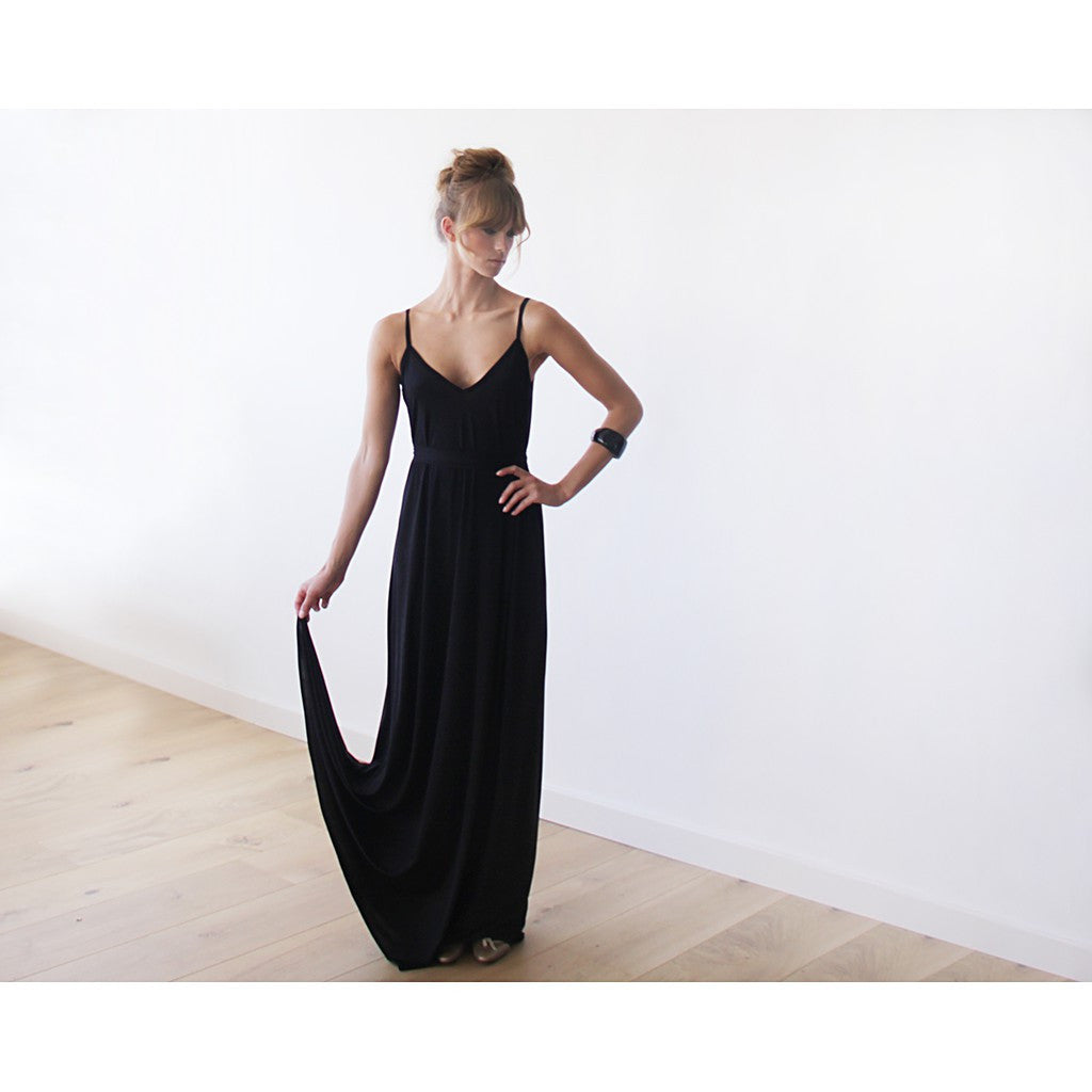 'Courtney' Black Maxi Slip Dress