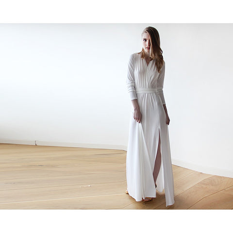 Ivory minimalist maxi wedding dress with slit - Stylemindchic Boutique - Curated Collections - 1