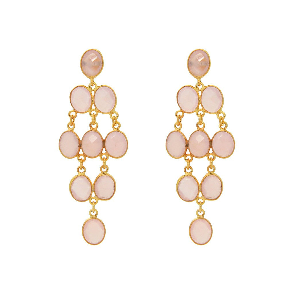 Fronay Collection Pink Quartz Chandelier Earrings 18k Gold Pl Silver, 2.5