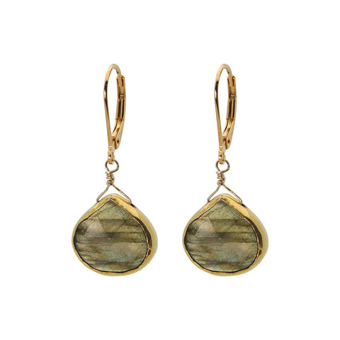 French Hook 18k Gold Plated Sterling Silver Labradorite Stone Earrings - Stylemindchic Boutique - Curated Collections