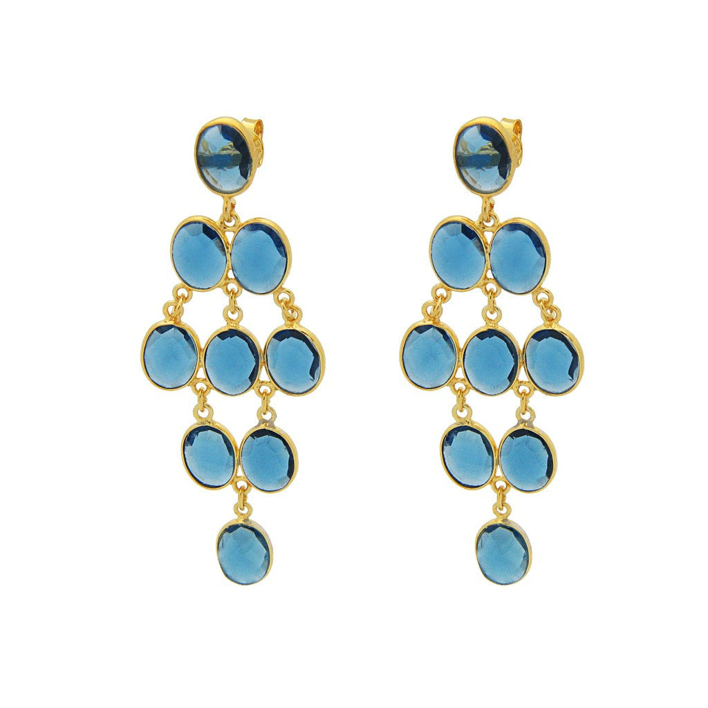 """Capri"" Blue Chalcedony Chandelier Earrings - Fronay Collection - Miami"