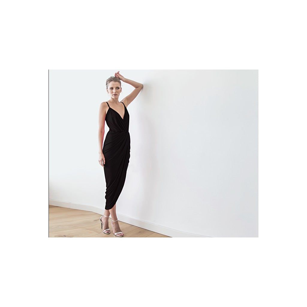 Black sexy maxi wrap dress - Stylemindchic Boutique - Curated Collections - 1