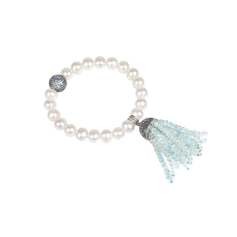 Tassel Pearl Bracelet Aquamarine (Oxidized) - Stylemindchic Boutique - Curated Collections