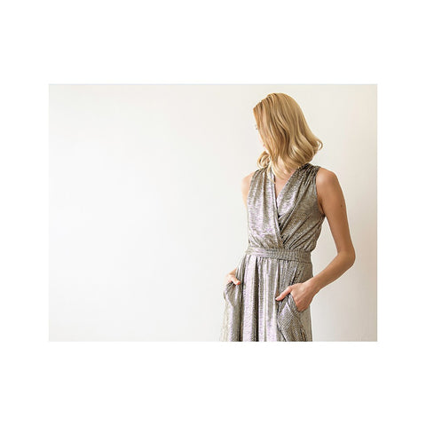 Metallic maxi sleeveless dress with side pockets - Stylemindchic Boutique - Curated Collections - 2