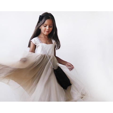 Flower Girls fancy tulle champagne dress - Stylemindchic Boutique - Curated Collections - 2