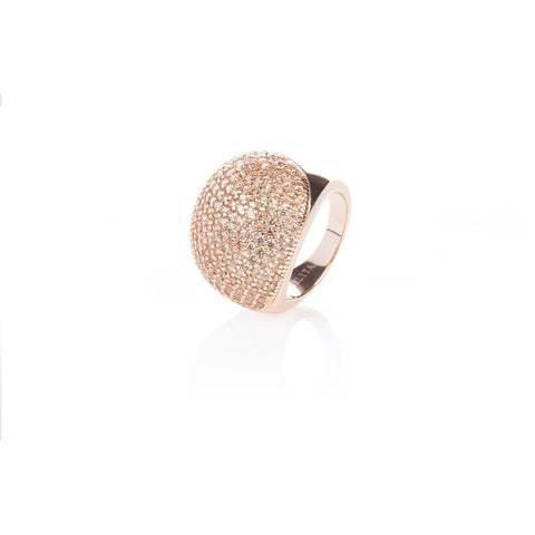 22ct Rose Gold Vermeil Micro pave Ball Ring - Champagne Zircon - Stylemindchic Boutique - Curated Collections - 1