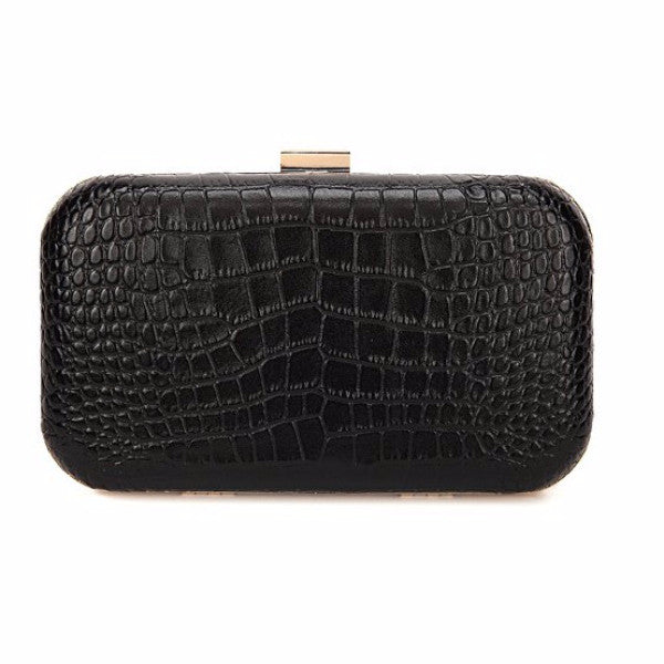 'Black Rose' Croc Embossed Leather Clutch by F&W Style