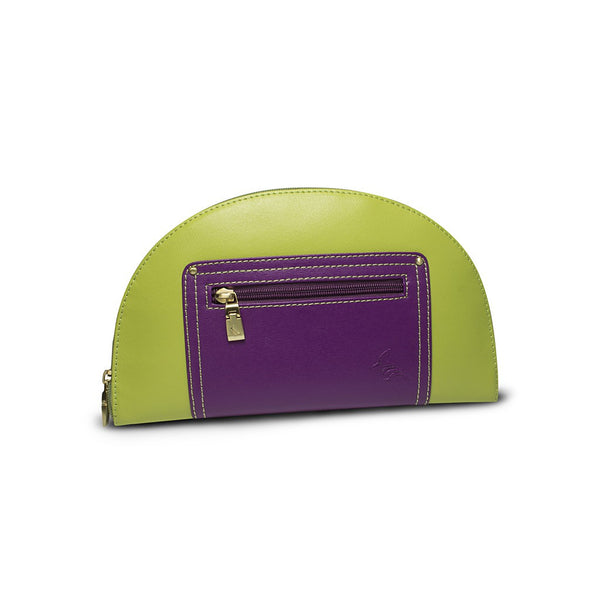 Green/Purple Saffiano Leather Clutch - Hoopoe