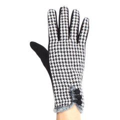 Womens Houndstooth Lined Texting Gloves - Stylemindchic Boutique - Curated Collections - 3