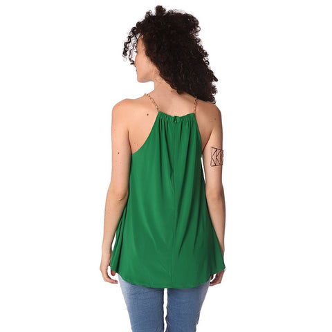 Green halter top with gold-tone chain straps