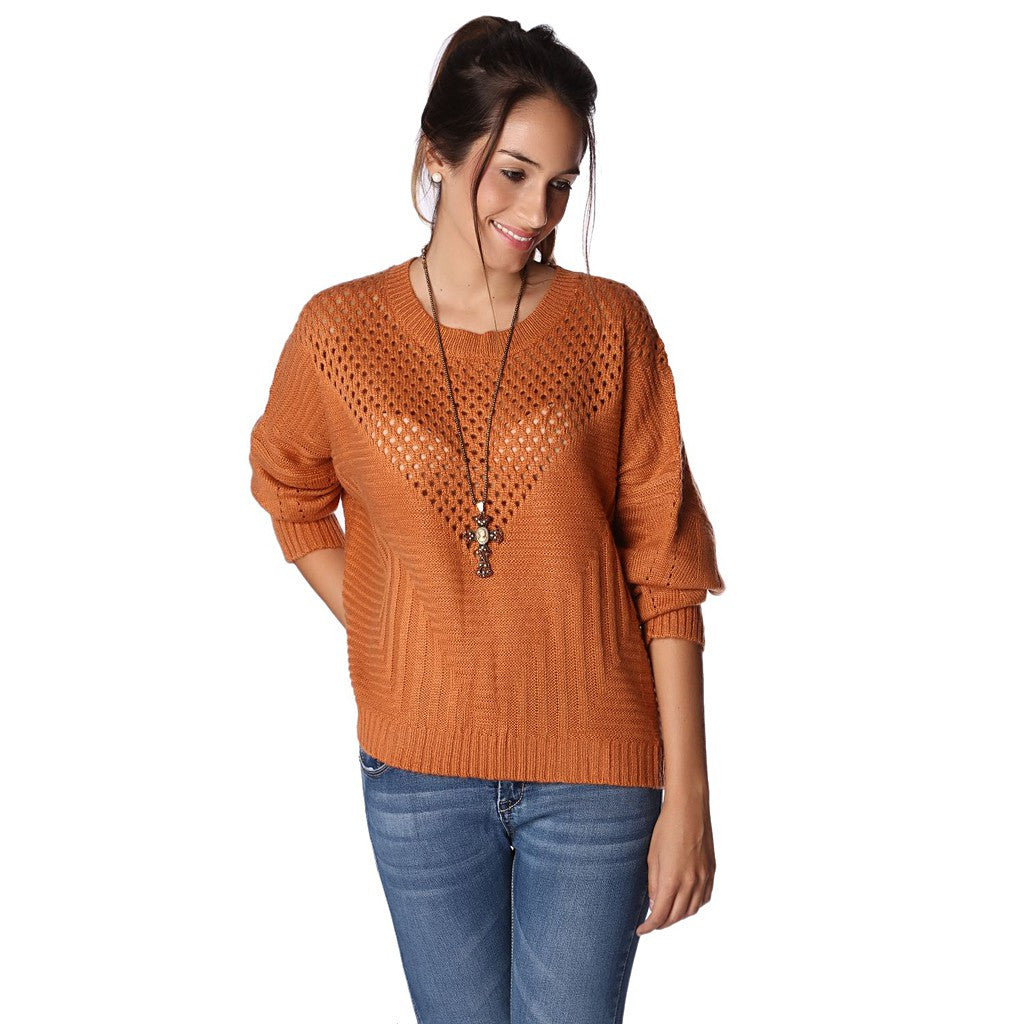 ORANGE SWEATER WITH SHEER OPEN KNIT DETAIL - Stylemindchic Boutique - Curated Collections - 1