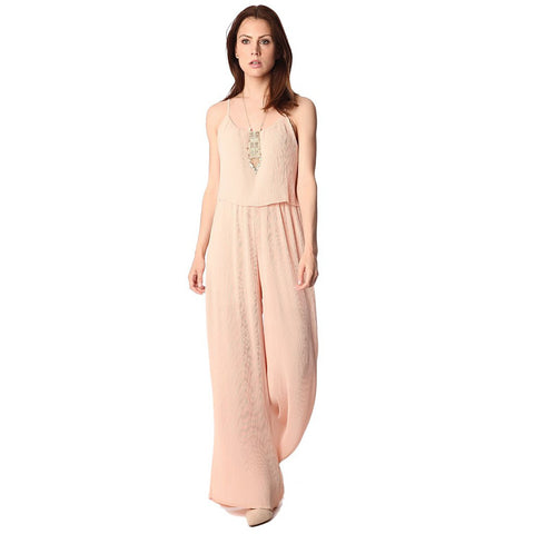 Nude Double Layer Jumpsuit by Q2 Store - Spain
