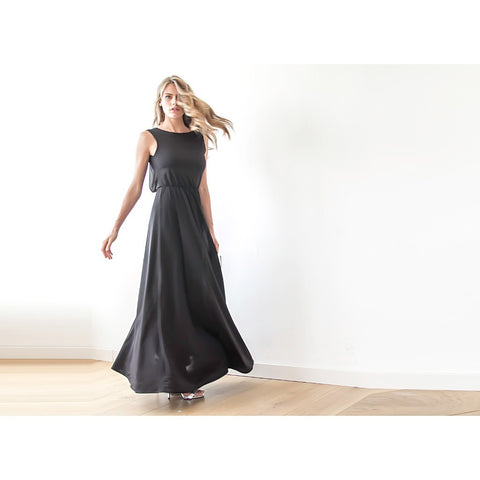 Backless sleeveless black formal maxi dress - Stylemindchic Boutique - Curated Collections - 1