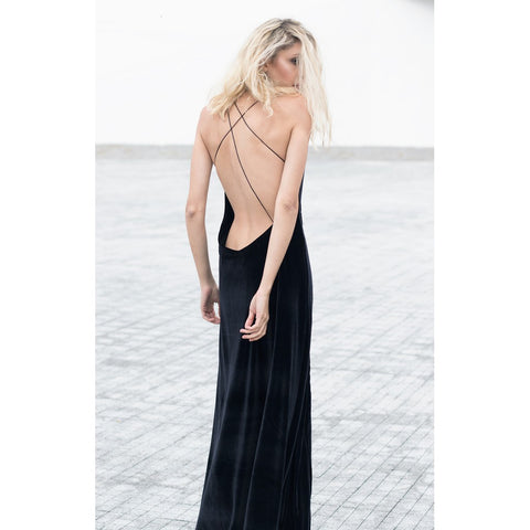 """Bare"" Bareback Velvet Maxi Dress - Bastet Noir"