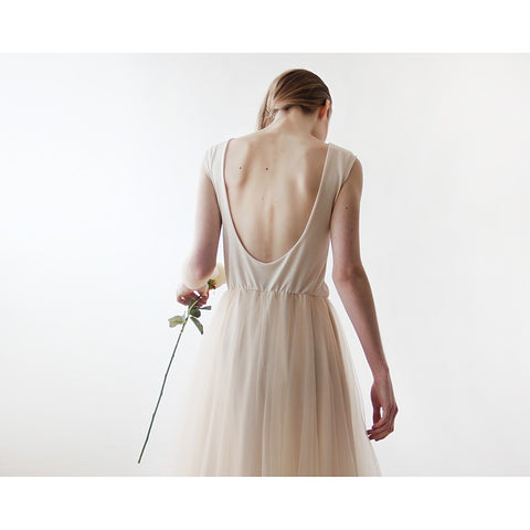 Backless champagne sleeveless maxi tulle Dress - Stylemindchic Boutique - Curated Collections - 2