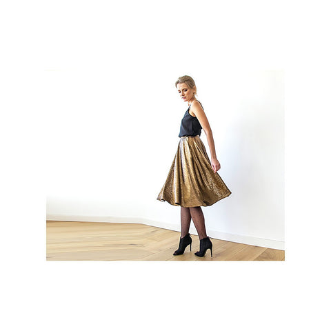 Bronze midi Skirt , Knee length skirt with pockets , Metallic Skirt , Party outfit - Stylemindchic Boutique - Curated Collections - 2