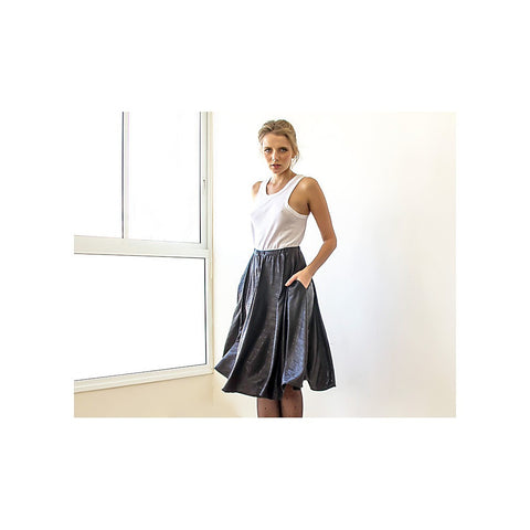 Metallic black midi skirt with pockets - Stylemindchic Boutique - Curated Collections - 2