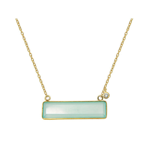 "18k Gold Plated Silver Milky Green Agate & CZ Pendant Necklace, 16"" - Stylemindchic Boutique - Curated Collections"