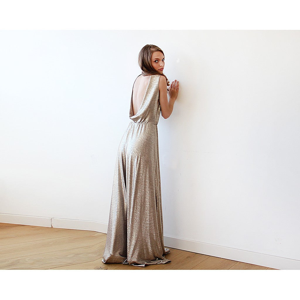 Gold Backless maxi dress sleeveless - Stylemindchic Boutique - Curated Collections - 3