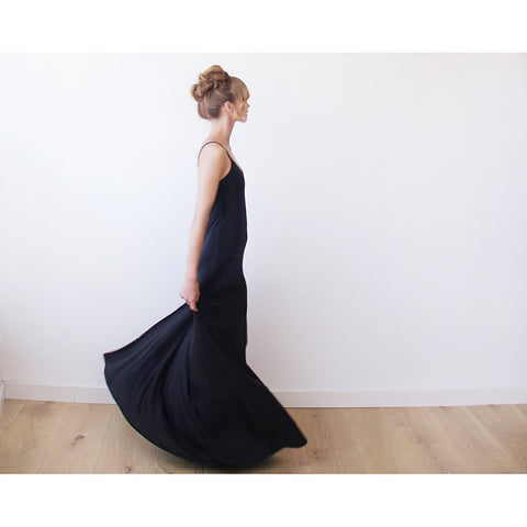 Black Maxi casual dress with thin straps - Stylemindchic Boutique - Curated Collections - 1
