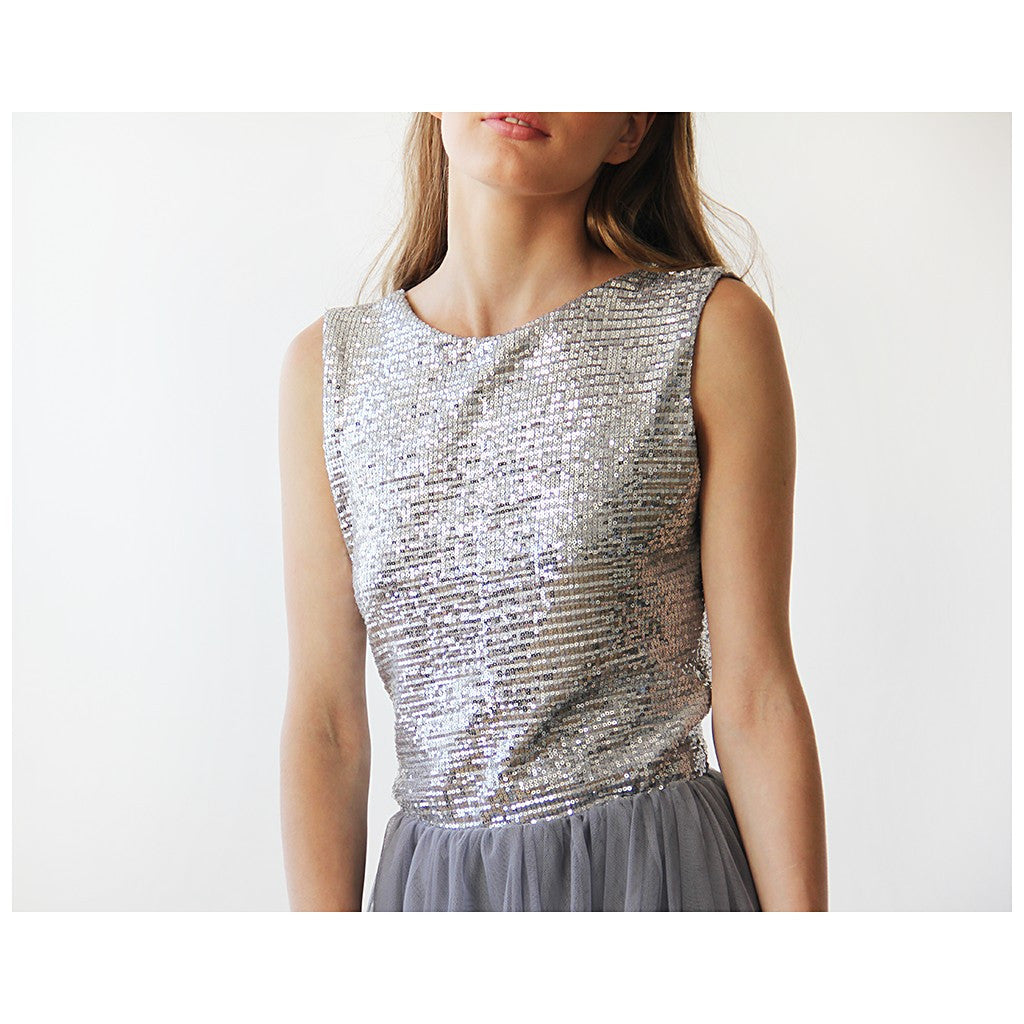 Backless Silver and grey sequins sleeveless maxi tulle Dress - Stylemindchic Boutique - Curated Collections - 5