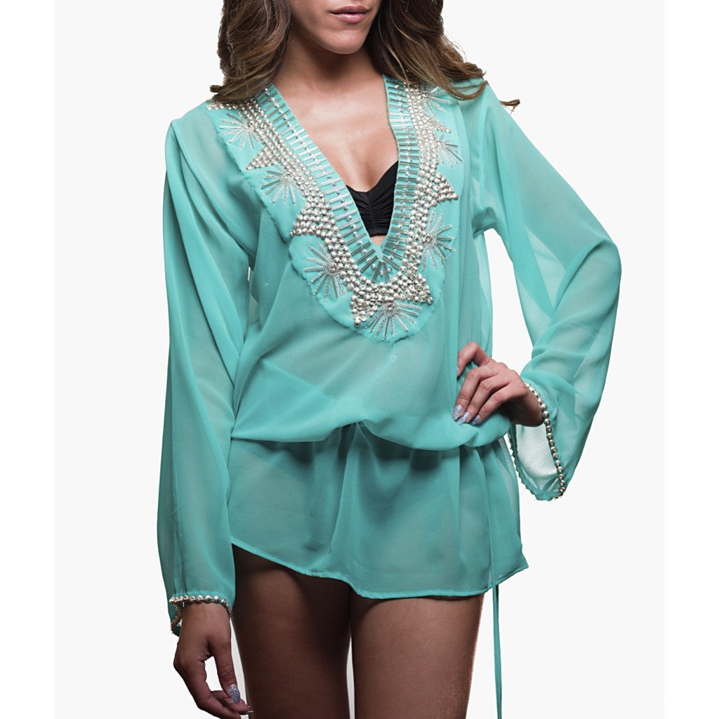 Beach Glam Turquoise and Silver Silk Caftan