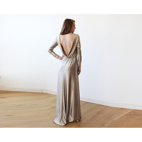 Gold Backless maxi dress with long sleeves - Stylemindchic Boutique - Curated Collections - 1