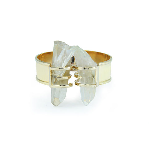 Double Rock Crystal Gold Cuff - Stylemindchic Boutique - Curated Collections - 1