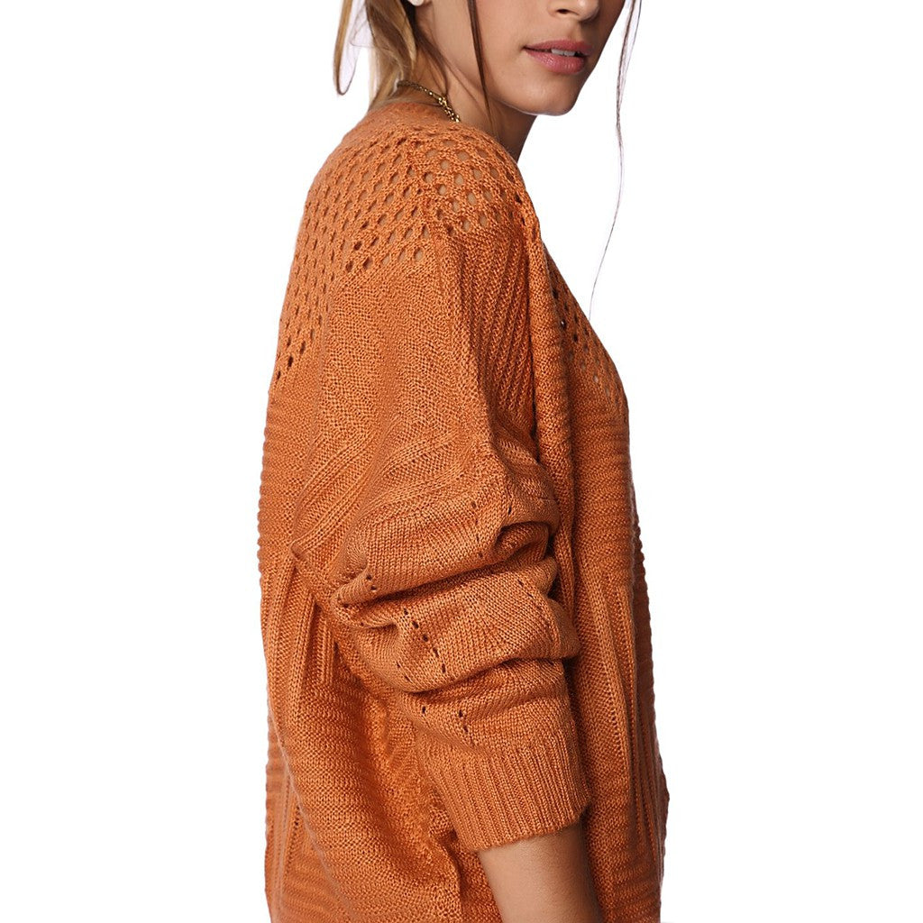 ORANGE SWEATER WITH SHEER OPEN KNIT DETAIL - Stylemindchic Boutique - Curated Collections - 4