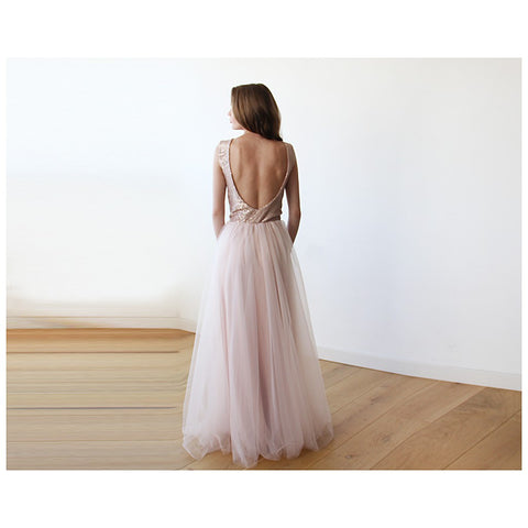 Backless pink sequins sleeveless maxi tulle Dress - Stylemindchic Boutique - Curated Collections - 1