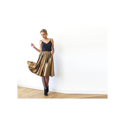 Bronze midi Skirt , Knee length skirt with pockets , Metallic Skirt , Party outfit - Stylemindchic Boutique - Curated Collections - 1
