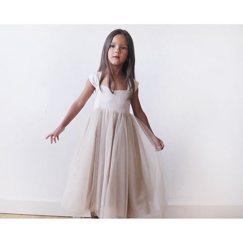 Flower Girls fancy tulle champagne dress - Stylemindchic Boutique - Curated Collections - 1