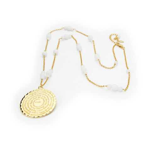 "Silver Gold Plated 25""+2"" White Onyx Beads ""Padre Nuestro"" Medallion Necklace - Stylemindchic Boutique - Curated Collections"
