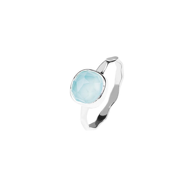 Silver Stacking Ring Aqua Chalcedony by Latelita London
