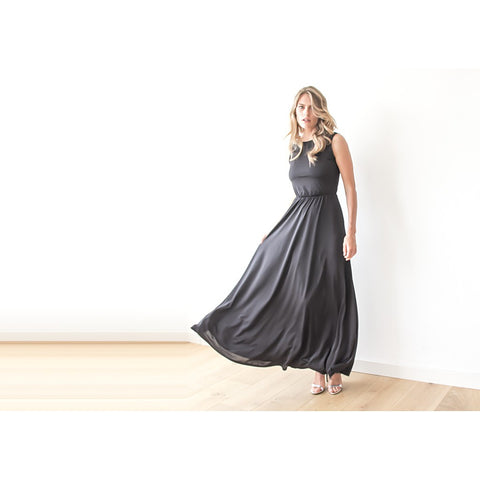 Backless sleeveless black formal maxi dress - Stylemindchic Boutique - Curated Collections - 2