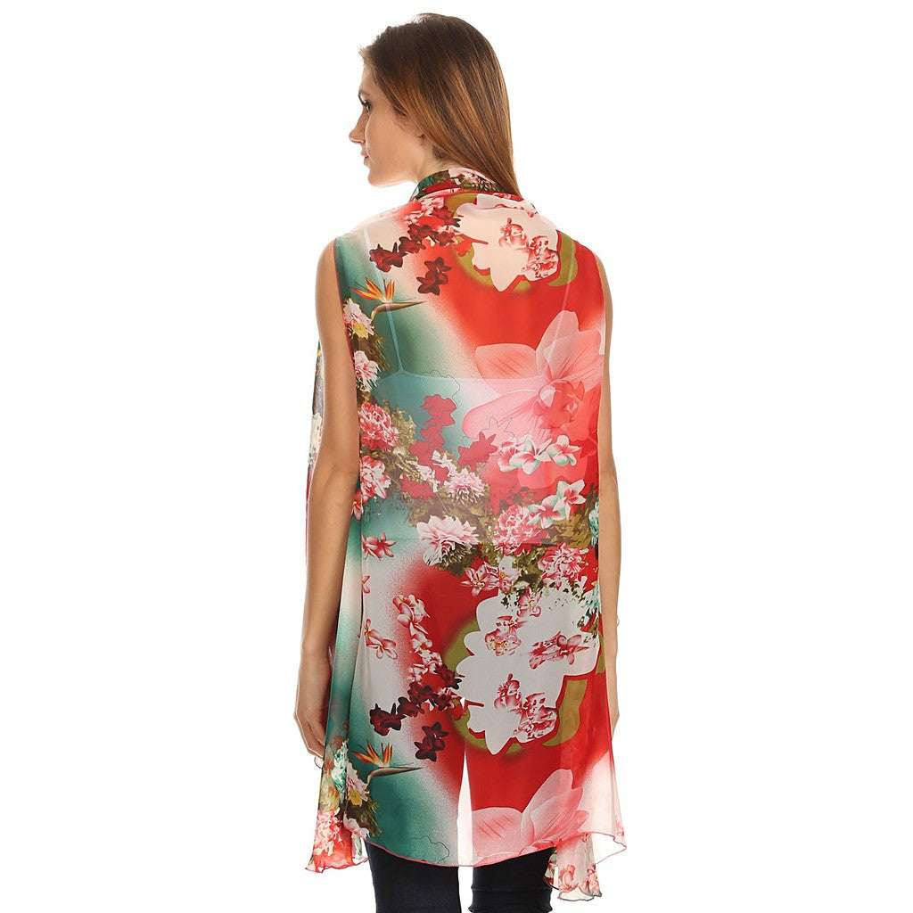 """Rosa"" Lightweight Sleeveless Poncho with Shawl Neckline"