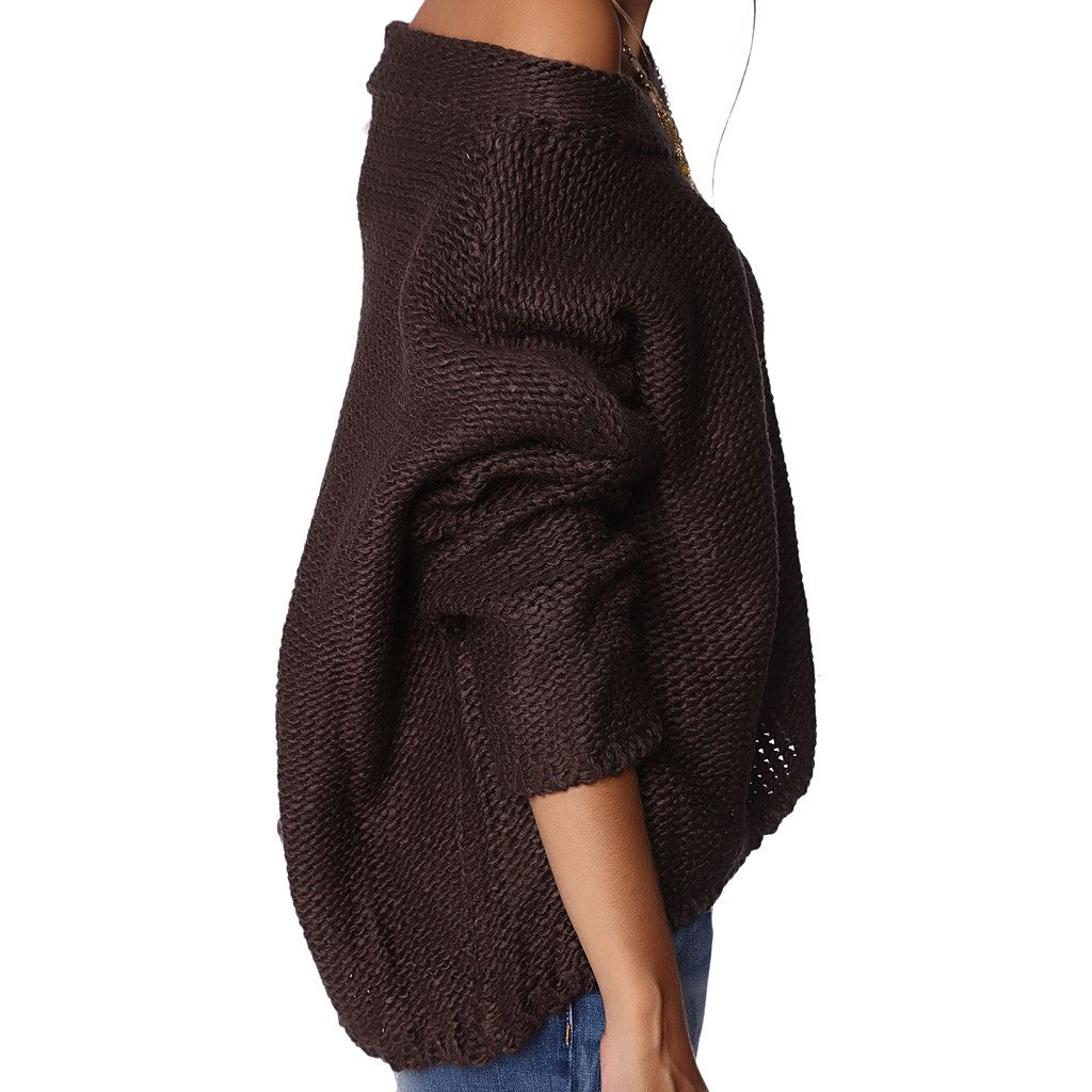 Dark gray asymmetric open knit sweater with boat neck - Stylemindchic Boutique - Curated Collections - 4