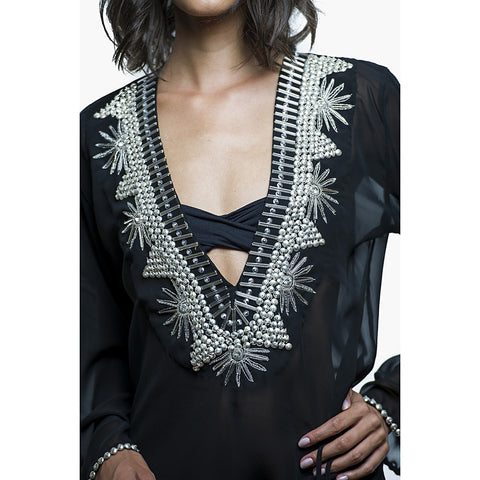 Beach Glam Black and Silver Silk Kaftan