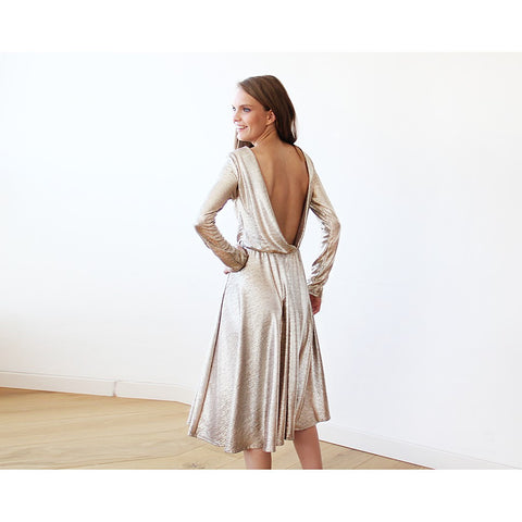 Light Gold Backless midi dress with long sleeves - Stylemindchic Boutique - Curated Collections - 1