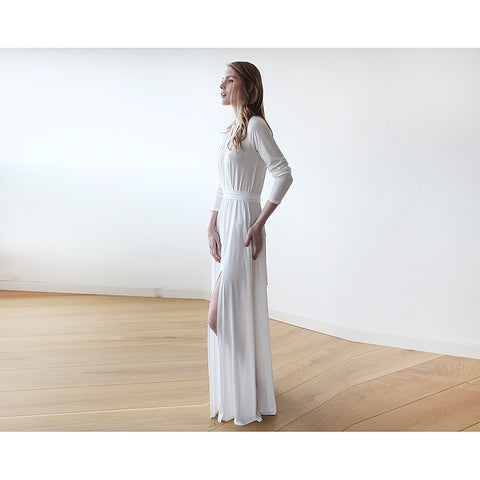 Ivory minimalist maxi wedding dress with slit - Stylemindchic Boutique - Curated Collections - 2