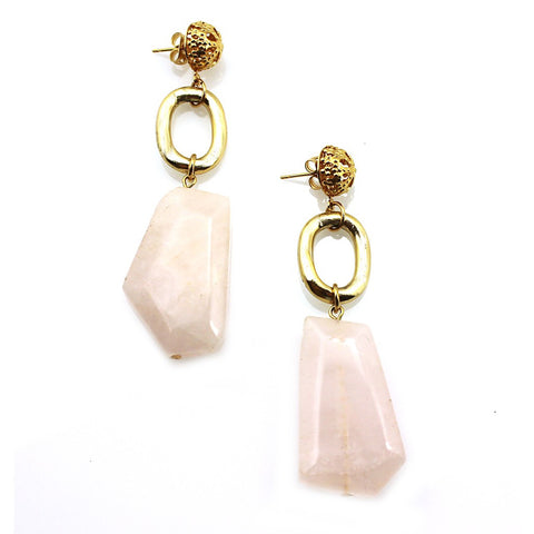 """Natali"" Miss Narcissist Earrings in Rose Quartz by Manic Trout - Austin"
