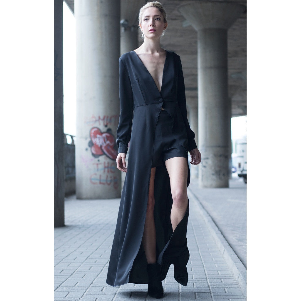 Black maxi dress with high waist short - Stylemindchic Boutique - Curated Collections - 2