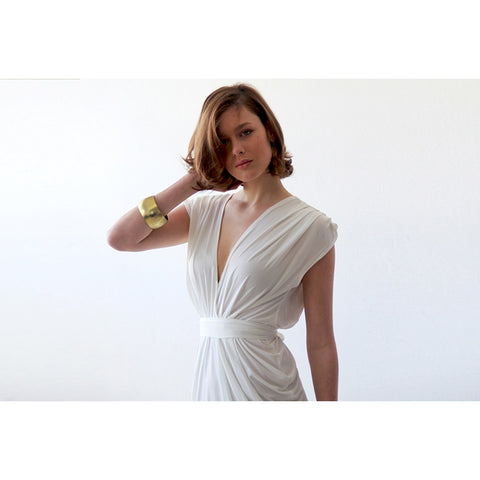 Ivory wedding backless maxi minimalist dress - Stylemindchic Boutique - Curated Collections - 2