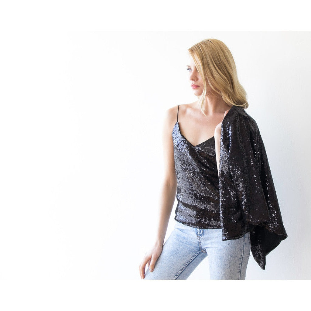Black sparkling open back sequin top