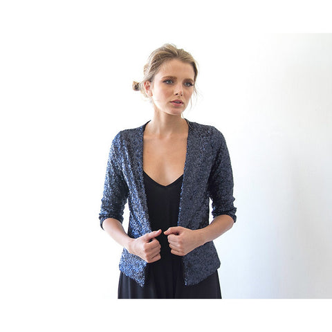 Sequin blue long sleeves sparkling jacket