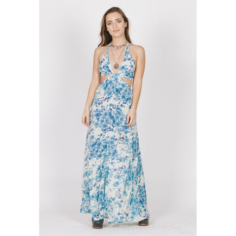 BLUE ROSE CUTOUT MAXI - Stylemindchic Boutique - Curated Collections - 1
