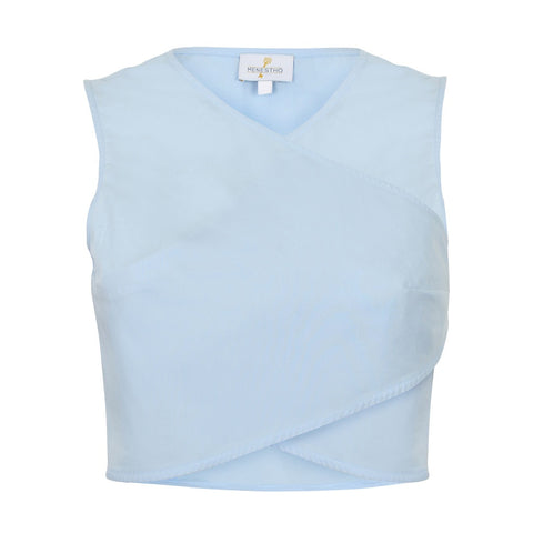Light blue poplin wrap crop top