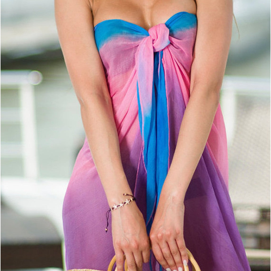 Beach Glam Pink Purple Blue Ombre Sarong - Stylemindchic Boutique - Curated Collections - 1