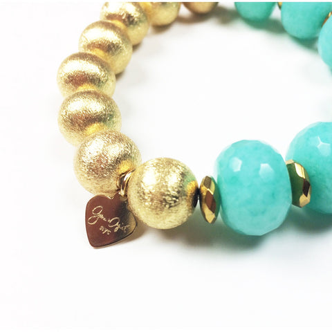 Sea Green Agate Gold Stretch Bracelet - Stylemindchic Boutique - Curated Collections - 2